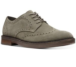 Clarks Men's Paulson Wing Tip US 10M Olive Suede Oxfords Shoes