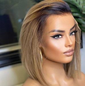 Highlight Straight Short Bob Wig Human Hair Wig Pre Plucked Brazilian for Women