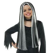 "Girls Long Stripe 25"" Witch Monster Frankie Wig Black White Kids New Halloween"