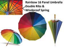 Big Golf Umbrella Windproof Double Ribs & Wood Handle - Multi Coloured Rainbow
