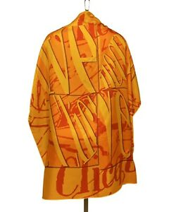 "VEUVE CLICQUOT SILK Scarf Kerchief 34"" X 34"" Hand Rolled Hem NWOT Orange"