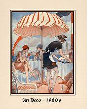"""A 10"""" x 8"""" Art Deco Print - Ladies taking tea - Smoking - Applying Make Up"""