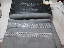 "New Cynthia Rowley Glitter Window Panels Two-40""x96"" ~Grey Gray NEW"