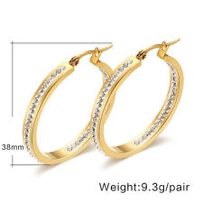 14KGP Stainless Steel Overlay Channel Set CZ Hoop Saddleback Women's Earrings