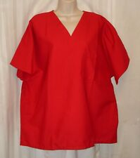 Valentine Red Shrt Sleeve Poly Cotton Simple Scrub Top Men Sz Xl Women Sz 3X Nip