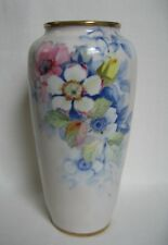 Antique Nippon Noritake Porcelain Vase w/ Hand Painted Flowers