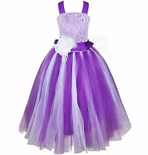 US Pageant Flower Girl Dress Kids Birthday Wedding Bridesmaid Gown Formal Dress