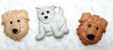 3 Vintage Plastic Cat & Dog Buttons #224