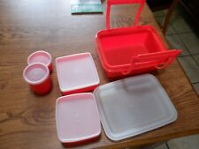 VTG Pack N Go Lunch Box TUPPERWARE Red/Orange Snack Sandwich Container Complete
