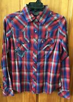 SOUTHERN THREAD Women's Red Blue White Plaid Long Sleeve Shirt SSW5104001 NWT