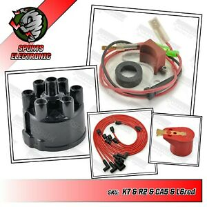 Jaguar XJ6 S1 & S2 45D6 Electronic Ignition Cap Rotor Arm 8mm Red HT Leads