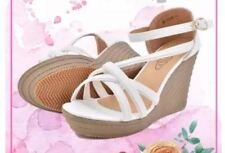Khoee Grace Strappy Wedge Sandals  WHITE SIZE 35