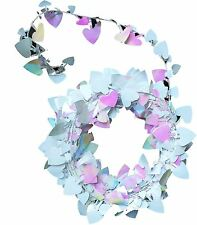 SKD Party White Iridescent Heart shaped Tinsel Wire Garland 25ft (set of 2)