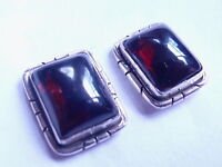 Garnet 925 Sterling Silver Stud Earrings with Grooved Accents