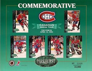 1992-93 Parkhurst Montreal Canadiens Arena Tour Promo Sheet Limited Release