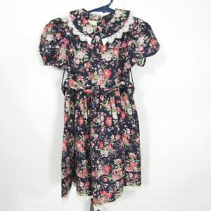 Laura Ashley Girls Dress sz 2 years Navy blue Pink Floral Lace edge Short sleeve