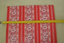 "By 1/2 Yd, 36"" Wide, Vintage 1940's-60's, Red White & Pink Floral Plisse, M7359"