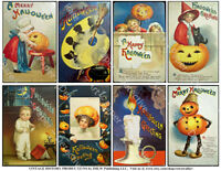 Halloween Holiday Postcard Tag Reproduction Stickers, Vintage Pumpkin, 1 Sheet