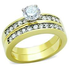Women's Stainless Steel Round CZ Wedding Engagement Gold GP Ring Band Set