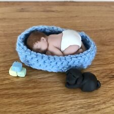 2.5 IN MINIATURE POLYMER OOAK BOY BABY DOLL ~ WITH HANDMADE SLEEPING DOG