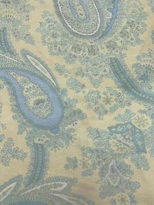 Rare RLL Ralph Lauren QUEEN Sheet FLAT Light Blue PAISLEY on TAN