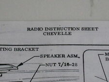 1967 Chevelle SS396 Mlibu 300 Factory GM Radio installation instruction sheet