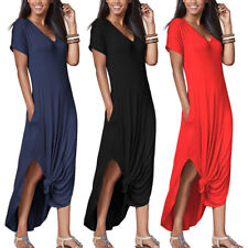 Womens Loungewear Summer T Shirt Long Maxi Dress Casual Home Work Beach Sundress