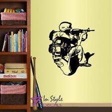Wall Vinyl Decal Shooting Soldier Boy Military Man Army Marine Wall Sticker 1334