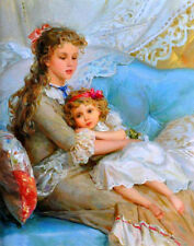 Sister's love Oil Painting HD Giclee Art Printed on canvas L1864