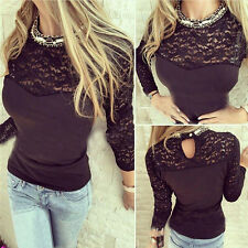 Womens Casual Tops Blouse Long Sleeve Lace T-Shirt Autumn Winter