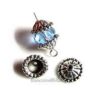 20 Caps calottes coupelles Fleur 8x8x3mm Perles apprêts création  bijoux /_  A249