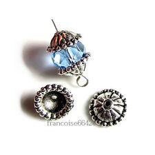 10 Caps calottes coupelles arg. 11x11x4.5mm Perles apprêts création  bijoux A211