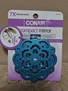 Conair Compact Makup Purse Mirror 7x magnification Magnifying Glass Teal Color