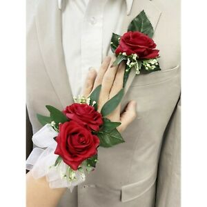 MADE IN USA-Corsage Boutonniere Real touch rose baby breath Prom Homecoming