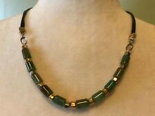 ~NWT~$58~ROBERT LEE MORRIS soho~GREEN BEADS WITH LEATHER CORD NECKLACE~GOLDTONE~