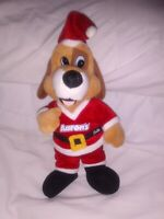 """Anico Aaron's mascot Lucky Puppy Dog Plush Wearing Santa Claus Suit 10"""" Tall"""