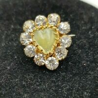 Vintage Art Deco Cute Rhinestone & Yellow Art Glass Heart Brooch C clasp
