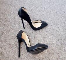 High Heels Stiletto D'Orsay Pumps Schwarz Matt 13 cm absatz in Gr. 38-39-40