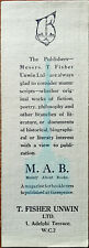 T. Fisher Unwin Ltd. M. A. B. Mainly About Books Magazine Vintage Bookmark