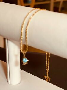 """14K Gold Blue Topaz Pendant, size 8mm x 8mm, w/gold 9"""" rope chain"""