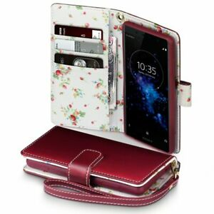 PU Leather Red Floral Wallet Case Cover For Sony Xperia XZ2 Compact