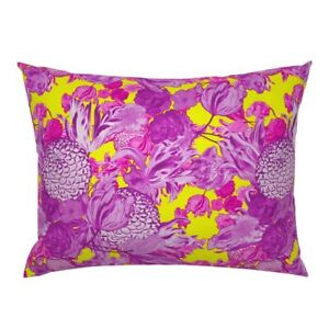 La Yellow Fuchsia Hot Pink Orchid Purple Floral Pillow Sham by Roostery