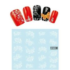 Nail Art Stickers-Decals Water Transfer-Tattoo Adesivi Unghie Fiori Bianchi !!!