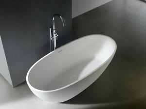 Matte White Stone Bathtub Oval Shape