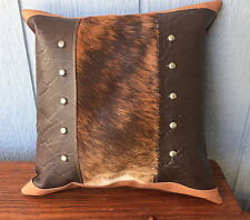 Leather pillow with Hair on cowhide fur inset  with decorative studs