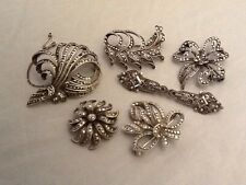 Job Lot Of 6 Solid Silver & Marcasite Art Deco Floral Brooches