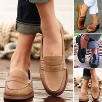 Womens Retro Casual Single Shoes Moccasin Loafers Slip On Peas Leather Lazy Shoe