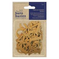 52 x Papermania Bare Basics Chipboard Alphabet Letters Sticker Scrapbooking 36mm