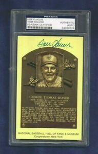 Tom Seaver New York Mets Baseball Autographed HOF Plaque Postcard PSA SLABBED