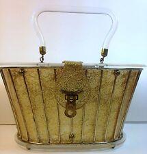 1950's DORSET REX LUCITE LUNCHBOX CLEAR LIDDED SWING HANDBAG - GOLD THREADS